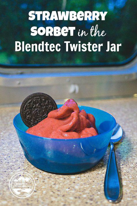 Strawberry Sorbet in the Blendtec Twister Jar